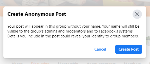 Warning message before you are prompted to creating an anonymous post